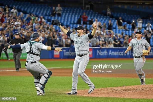 Seattle Mariners Starting pitcher James Paxton celebrates with Seattle Mariners Catcher Mike Zunino after throwing a no hitter in the regular season...