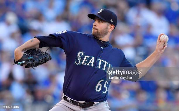 Seattle Mariners starting pitcher James Paxton throws in the first inning against the Kansas City Royals at Kauffman Stadium in Kansas City Mo on...