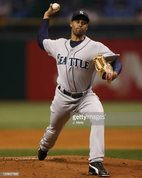 Seattle Mariners starting pitcher Miguel Batista makes a pitch in Wednesday night's action against Tampa Bay at Tropicana Field in St Petersburg...