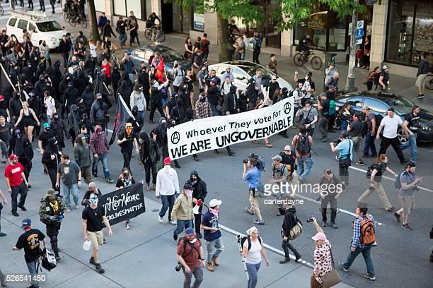 Seattle puede día protestas policía y Rioters 2016