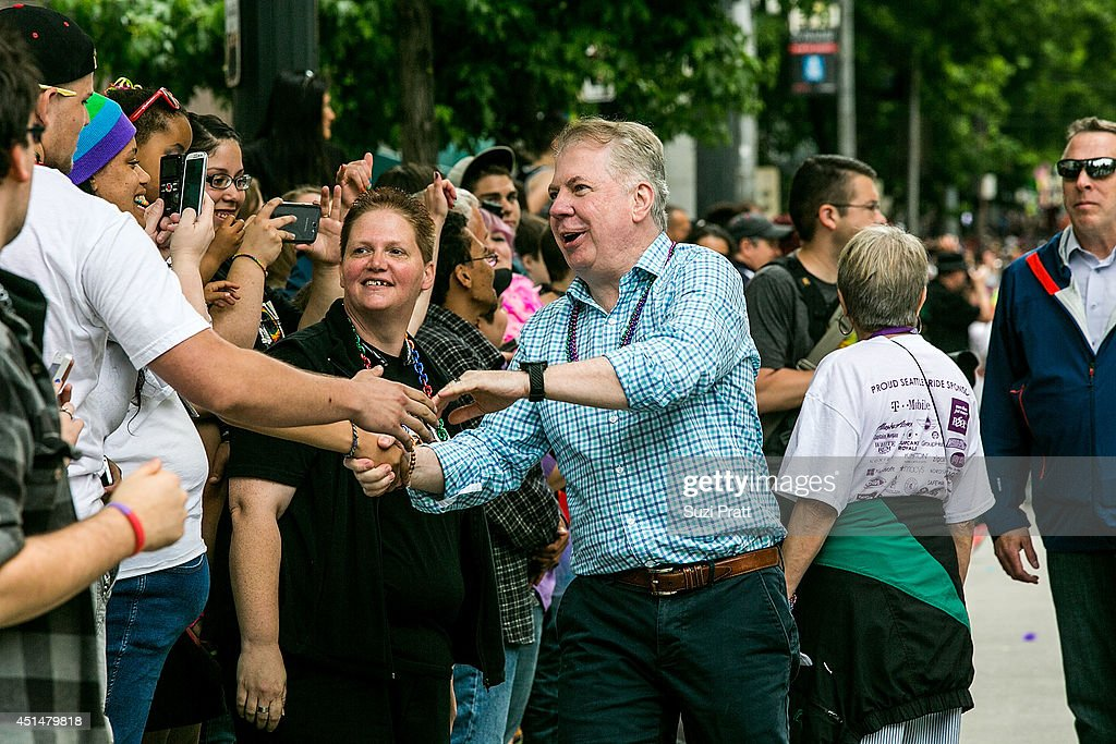 Seattle Mayor Ed Murray makes an apperance in the 40th annual Seattle Pride Parade on June 29, 2014 in Seattle, Washington.