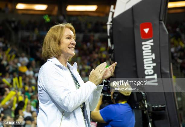Seattle Mayor Jenny Durkan claps as she attends Game 2 of the WNBA Finals between the Seattle Storm and Washington Mystics at KeyArena on September...