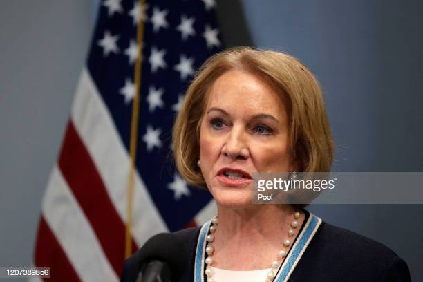 Seattle Mayor Jenny Durkan speaks at a news conference about the coronavirus outbreak Monday, March 16 in Seattle. Gov. Jay Inslee ordered all bars,...