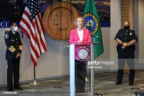 Seattle Mayor Jenny Durkan speaks at a press conference where Seattle Police Chief Carmen Best announces her resignation as Deputy Chief of Seattle...