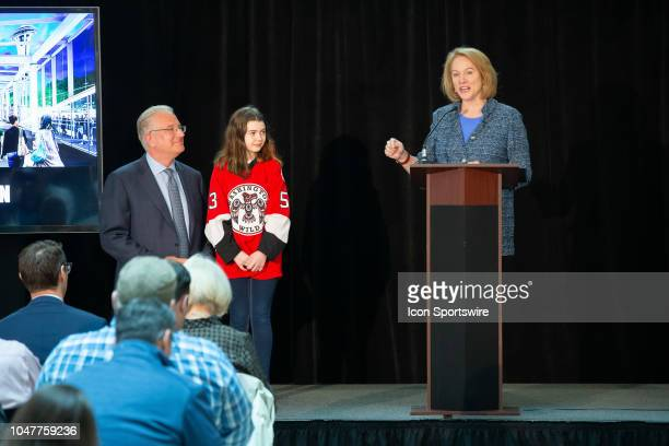 Seattle Mayor Jenny Durkan speaks during a press conference to announce the potential team training facility at Northgate Mall with NHL Seattle...