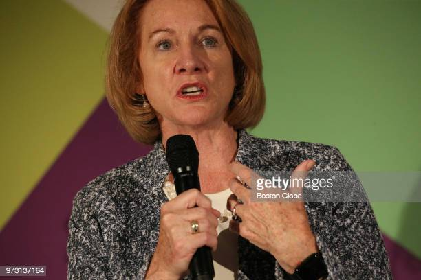 Seattle Mayor Jenny Durkan speaks during a Smarter Cities, Smarter Skills panel discussion at the Wayfair headquarters in Boston on June 8, 2018. The...