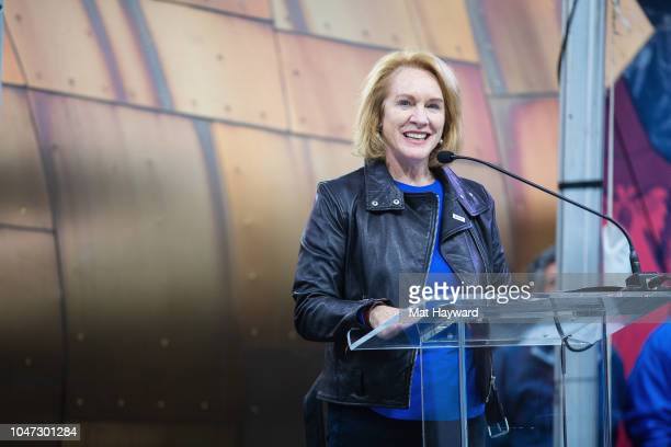 Seattle Mayor Jenny Durkan speaks during the public unveiling ceremony of a statue of Soundgarden singer Chris Cornell at MoPOP on October 7, 2018 in...