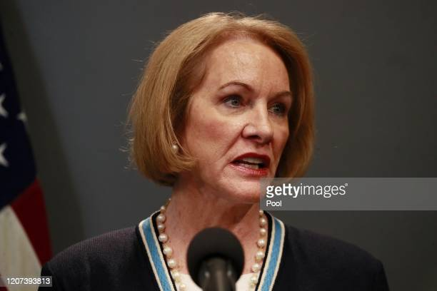 Seattle Mayor Jenny Durkan talks at a press conference about the coronavirus outbreak March 16, 2020 in Seattle, Washington. Gov. Jay Inslee ordered...