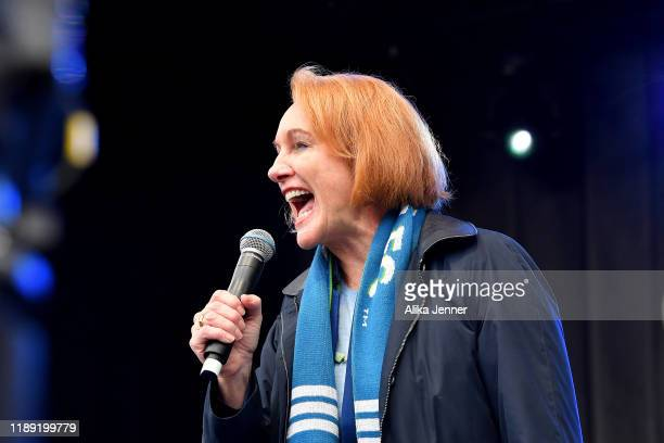 Seattle mayor Jenny Durkan talks to the crowd during the MLS Cup Champions Parade & Rally on November 12, 2019 in Seattle, Washington.
