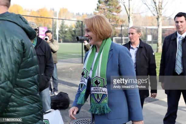 Seattle mayor Jenny Durkin makes an appearance at training at Starfire Sports Complex on November 08, 2019 in Tukwila, Washington.