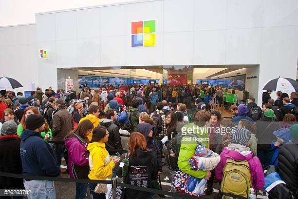 Seattle Microsoft grand opening of Microsoft's first retail store October 20 Seattle's University Village shopping center Washington State United...