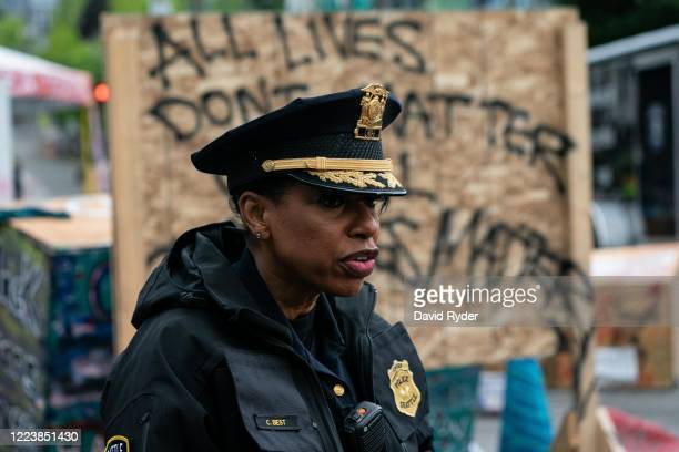 Seattle Police Chief Carmen Best addresses the press as city crews dismantle the Capitol Hill Organized Protest area outside of the Seattle Police...