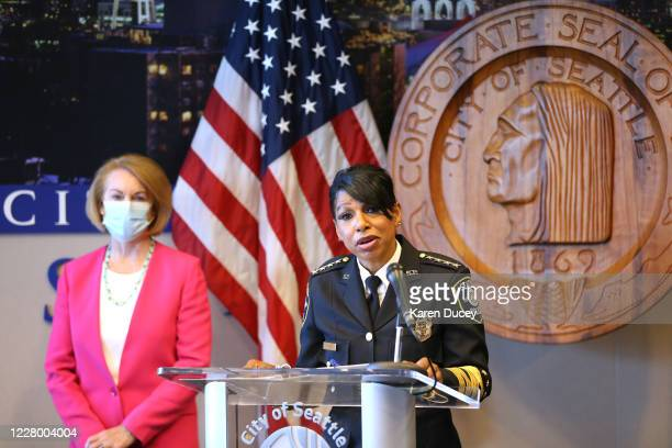 Seattle Police Chief Carmen Best announces her resignation at a press conference as Seattle Mayor Jenny Durkan looks on at Seattle City Hall on...