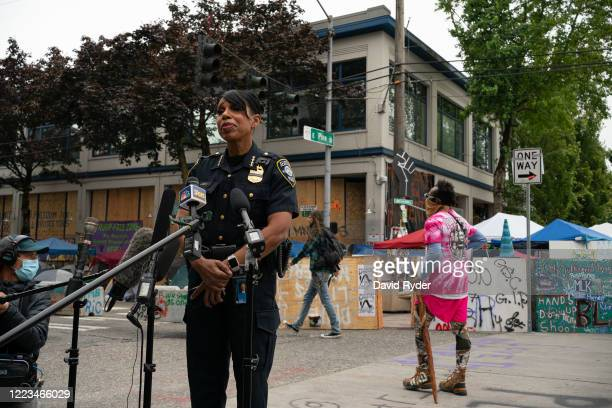 Seattle Police Chief Carmen Best holds a press conference outside of the departments vacated East Precinct in the area known as the Capitol Hill...