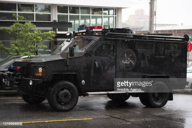 Seattle Police Department SWAT vehicle drives to a protest in Seattle, Washington on June 12, 2020. Protests have been held around Washington State...