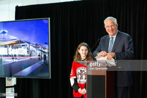 Seattle President CEO Tod Leiweke and Washington Wild player Jaina Goscinski open a press conference to announce the potential team training facility...