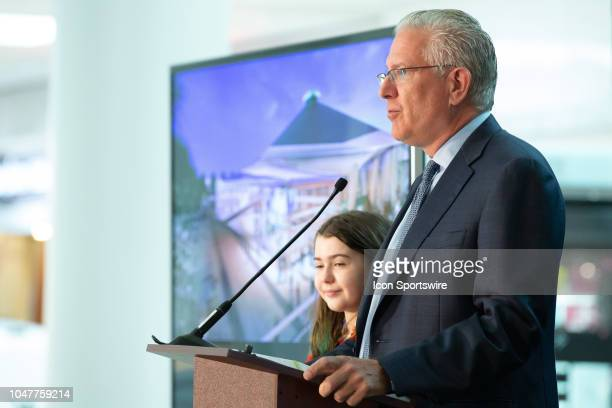 Seattle President CEO Tod Leiweke holds a press conference to announce the potential team training facility at Northgate Mall on October 8 2018 in...