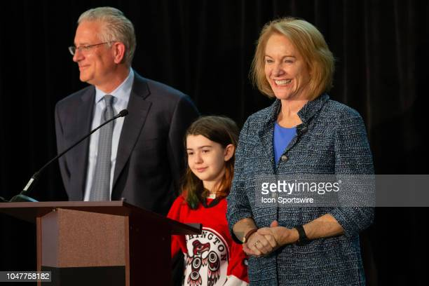 Seattle President & CEO Tod Leiweke, special guest Washington Wild player Jaina Goscinski and Seattle Mayor Jenny Durkan take questions during a...