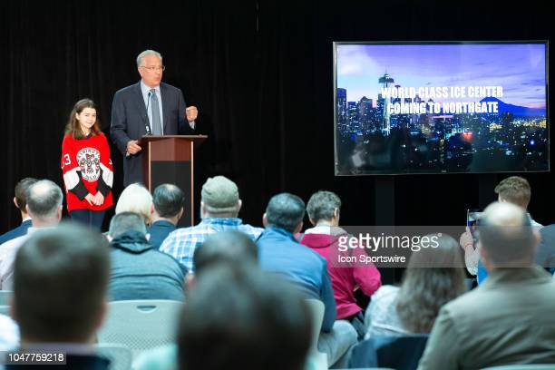 Seattle President CEO Tod Leiweke with special guest Washington Wild player Jaina Goscinski opens a press conference to announce the potential team...