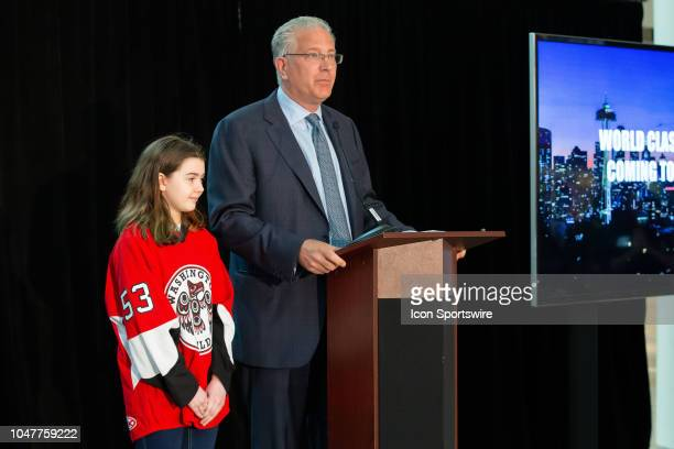 Seattle President CEO Tod Leiweke with special guest Washington Wild player Jaina Goscinski hold a press conference to announce the potential team...