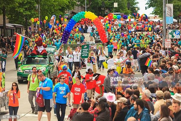 seattle pride parade - parade stock pictures, royalty-free photos & images