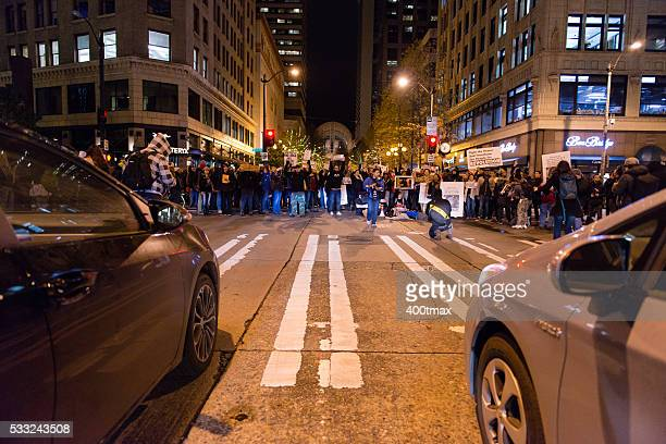 seattle protest - mob stock photos and pictures