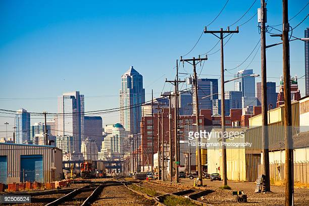 seattle railyards and skyline - shunting yard stock photos and pictures