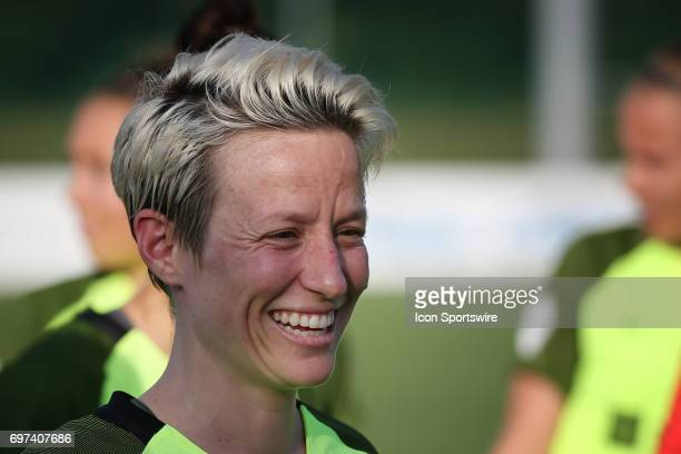 Seattle Reign FC forward Megan Rapinoe before an NWSL match between the Seattle Reign FC and FC Kansas City on June 17 2017 at Children's Mercy...