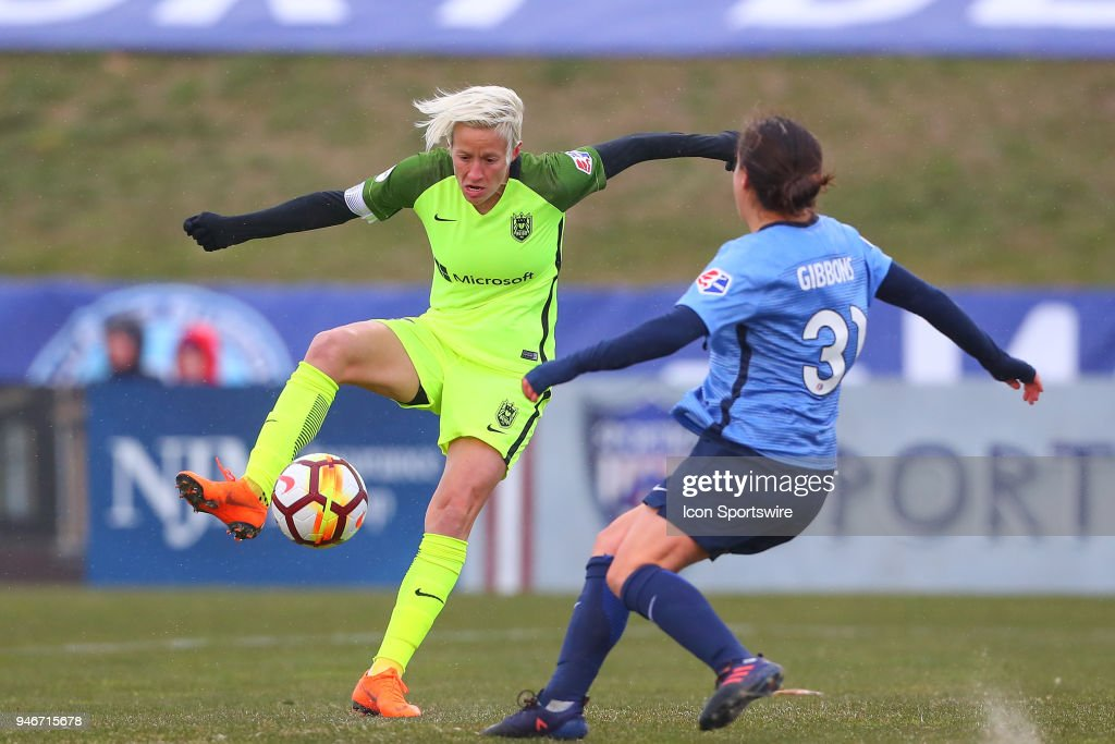 Seattle Reign FC forward Megan Rapinoe (15) during the first half of the National Womens Soccer League game between Sky Blue FC and Seattle Reign FC on April 15, 2018, at Yurcak Field in Piscataway, NJ.