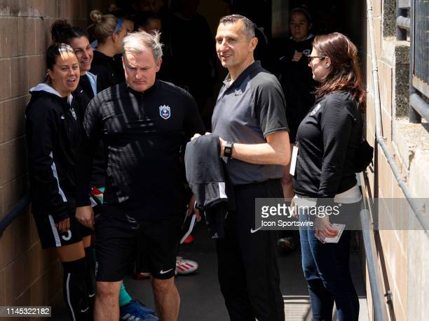 Seattle Reign FC head coach Vlatko Andonovski before the NWSL soccer match between the Sky Blue FC and the Seattle Reign on May 18 2019 at Cheney...
