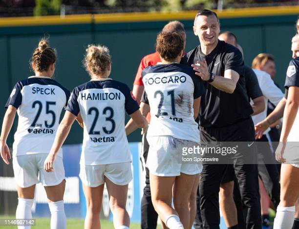 Seattle Reign FC head coach Vlatko Andonovski reacts after the NWSL soccer match between the North Carolina Courage and the Seattle Reign on May 27...