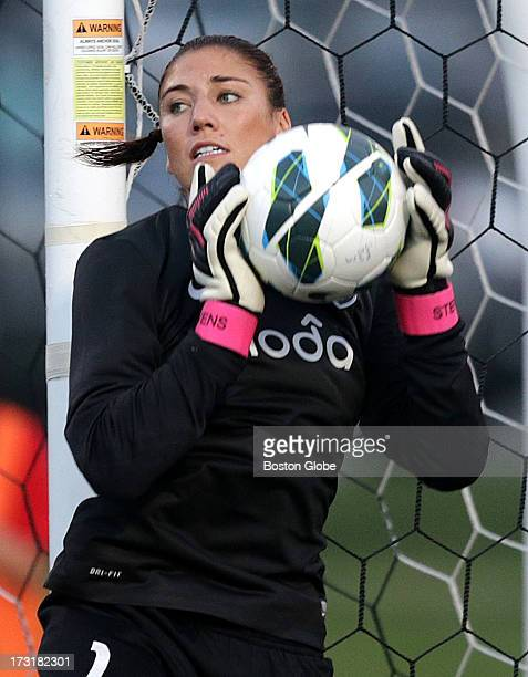 Seattle Reign goalie Hope Solo in action during a game against the Boston Breakers at Dilboy Stadium in Somerville
