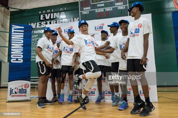 Seattle Rotary celebrate with the trophy after winning the game against Alaska Tru Game during the Jr NBA World Championship Northwest Regional...