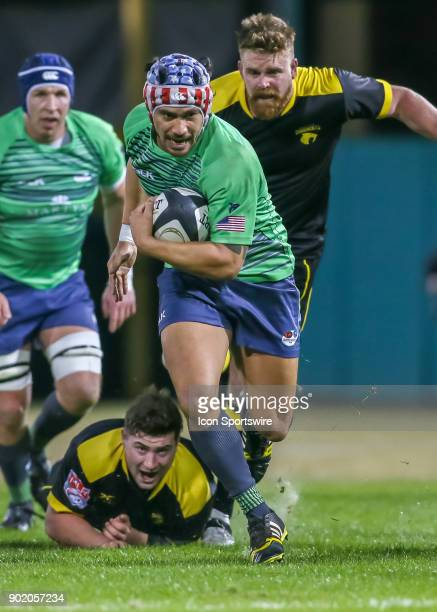 Seattle Saracens eightman Aladdin Schirmer carries the ball during the opening rugby match between the Seattle Saracens and Houston SaberCats on...