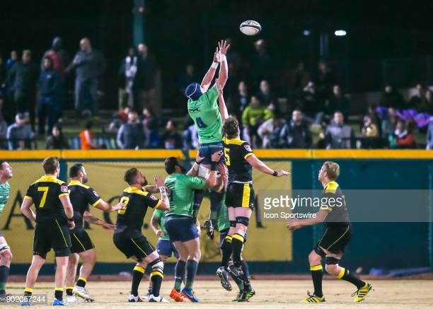 Seattle Saracens lock Nick McKenna wins the ball during the opening rugby match between the Seattle Saracens and Houston SaberCats on January 6 2018...