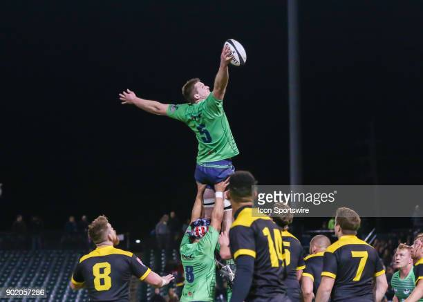 Seattle Saracens lock Taylor Kumrei wins the ball during the opening rugby match between the Seattle Saracens and Houston SaberCats on January 6 2018...