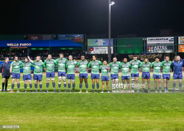Seattle Saracens players stand for the National Anthem before the opening rugby match between the Seattle Saracens and Houston SaberCats on January 6...