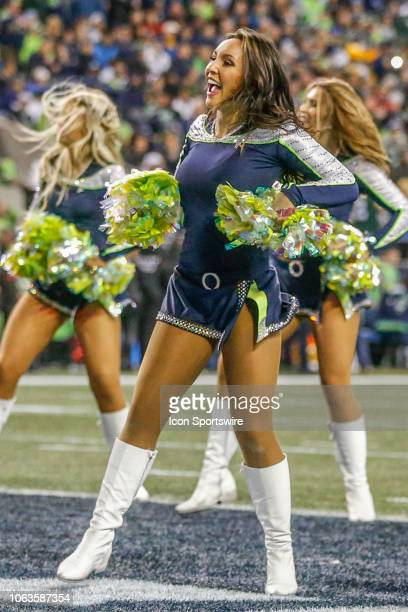 Seattle Sea Gals cheerleaders during the week 11 Thursday night NFL football game between the Seattle Seahawks and the Green Bay Packers on November...