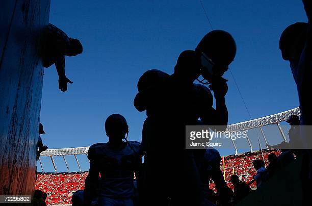 Seattle Seahawk players walk into the tunnel after warmups prior to the game against the Kansas City Chiefs on October 29 2006 at Arrowhead Stadium...