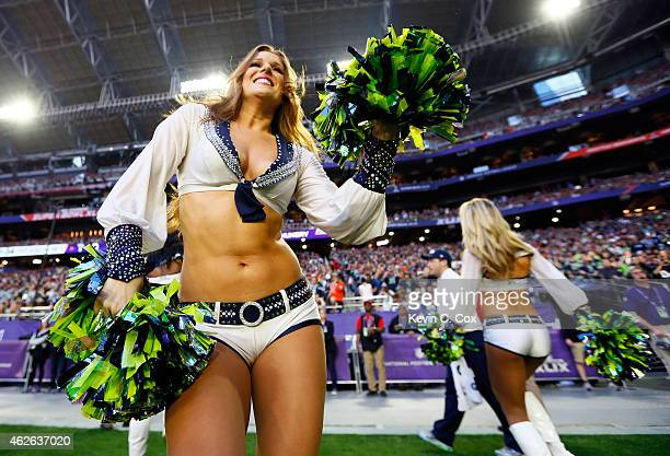 Seattle Seahawks cheerleaders perform during Super Bowl XLIX against the New England Patriots at University of Phoenix Stadium on February 1 2015 in...