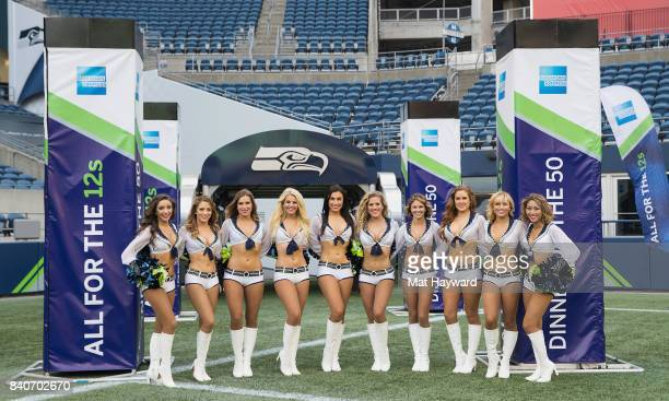 Seattle Seahawks cheerleaders the Seagals greets hundreds of fans and Seattle business owners during American Express 'Dinner on the 50' at...