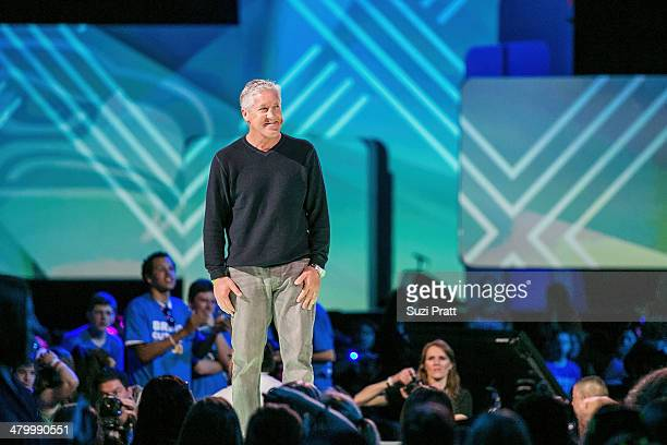 Seattle Seahawks Coach Pete Carroll speaks at We Day at Key Arena on March 21, 2014 in Seattle, Washington.