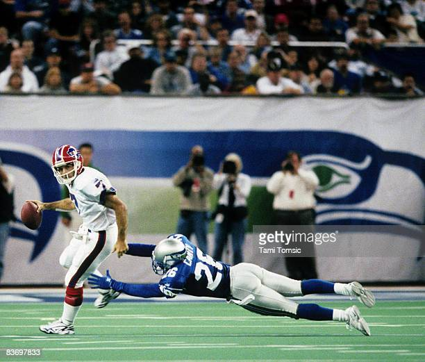 Seattle Seahawks cornerback Chris Canty can't quite get to Buffalo Bills quarterback Doug Flutie during a 26-16 Seahawks victory on October 24 at the...