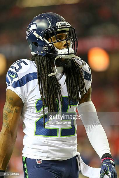 Seattle Seahawks cornerback Richard Sherman before the NFC Divisional Playoff game between the Seattle Seahawks and the Atlanta Falcons on January 14...