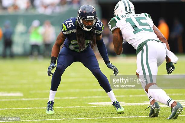 Seattle Seahawks cornerback Richard Sherman during the game between the New York Jets and the Seattle Seahawks played at MetLife Stadium in East...