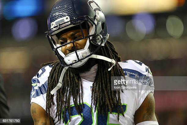 Seattle Seahawks cornerback Richard Sherman on the field before the NFC Divisional Playoff game between the Seattle Seahawks and the Atlanta Falcons...