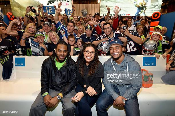 Seattle Seahawks cornerback Richard Sherman singer and NFL superfan Jordin Sparks and New England Patriots running back Shane Vereen pose with fans...