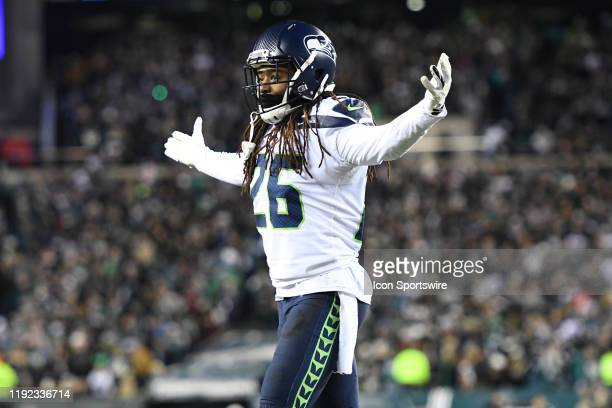 Seattle Seahawks cornerback Shaquill Griffin celebrates during the Playoff game between the Seattle Seahawks and the Philadelphia Eagles on January 5...