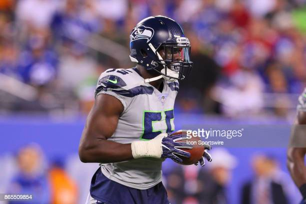 Seattle Seahawks defensive end Frank Clark after recovering a fumble during the National Football League game between the New York Giants and the...