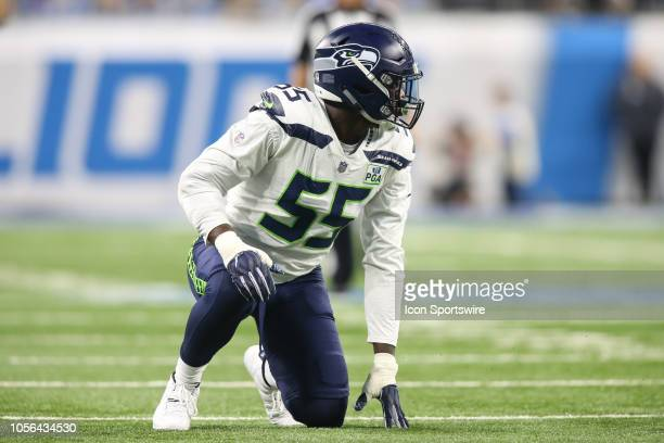 Seattle Seahawks defensive end Frank Clark waits for the play during a regular season game between the Seattle Seahawks and the Detroit Lions on...